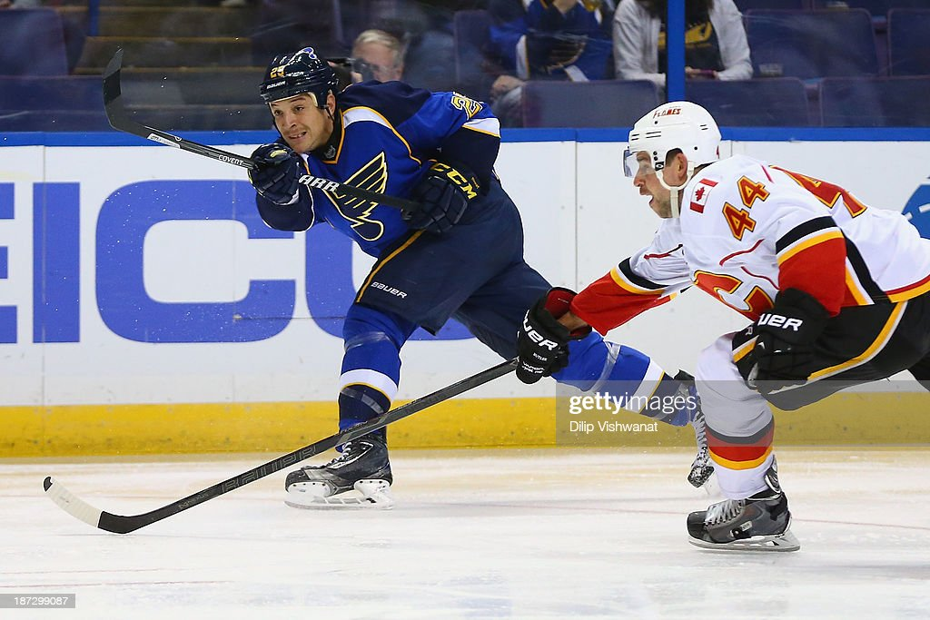 <a gi-track='captionPersonalityLinkClicked' href=/galleries/search?phrase=Chris+Stewart+-+Ice+Hockey+Player&family=editorial&specificpeople=6900499 ng-click='$event.stopPropagation()'>Chris Stewart</a> #25 of the St. Louis Blues takes a shot on goal against <a gi-track='captionPersonalityLinkClicked' href=/galleries/search?phrase=Chris+Butler+-+Ice+Hockey+Player&family=editorial&specificpeople=7742839 ng-click='$event.stopPropagation()'>Chris Butler</a> #44 of the Calgary Flames at the Scottrade Center on November 7, 2013 in St. Louis, Missouri. The Blues beat the Flames 3-2.