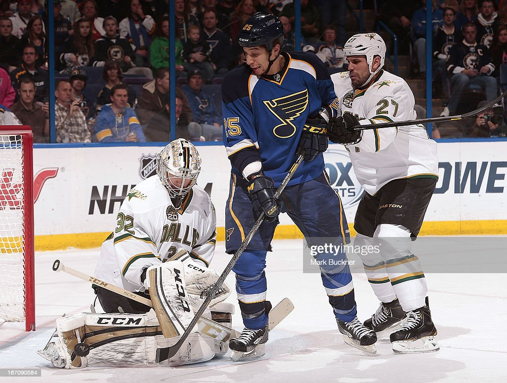 Chris Stewart #25 of the St. Louis Blues tries to direct the puck past goalie <a gi-track='captionPersonalityLinkClicked' href=/galleries/search?phrase=Kari+Lehtonen&family=editorial&specificpeople=211612 ng-click='$event.stopPropagation()'>Kari Lehtonen</a> #32 of the Dallas Stars as he is checked by <a gi-track='captionPersonalityLinkClicked' href=/galleries/search?phrase=Aaron+Rome&family=editorial&specificpeople=2139287 ng-click='$event.stopPropagation()'>Aaron Rome</a> #27 of the Dallas Stars in an NHL game on April 19, 2013 at Scottrade Center in St. Louis, Missouri.