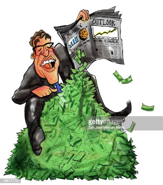 Chris Strach color illustration of an investor holding a newspaper stock page that has money falling out of it and piling up beneath the person