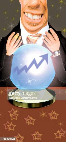 Chris Strach color illustration of investor gazing into crystal ball to see rising trendline
