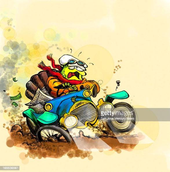 Chris Strach color illustration of 'Mr Dow's wild ride' a tortoise driving antique 'Dow' car with one wheel stuck in the mud