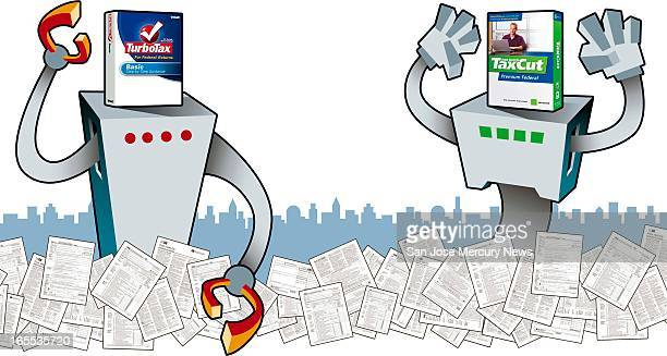 Chris Strach color illustration of two giantsized tax robots one powered by 'TurboTax' and the other by 'Tax Cut' looming large over city amid piles...