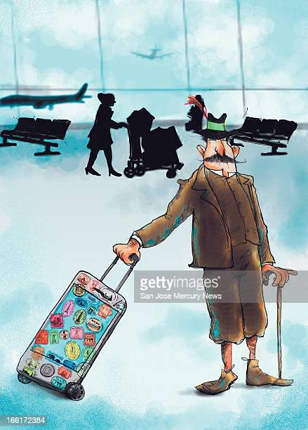 Chris Strach illustration of a world traveler standing in an airport terminal with his carryon bag which is actually a very large iPhone