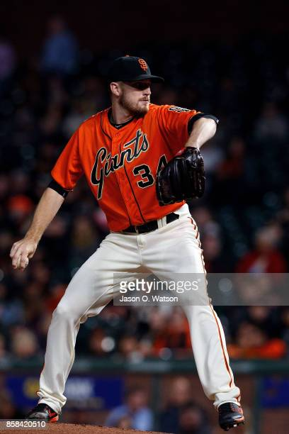 Chris Stratton of the San Francisco Giants pitches against the San Diego Padres during the first inning at ATT Park on September 29 2017 in San...