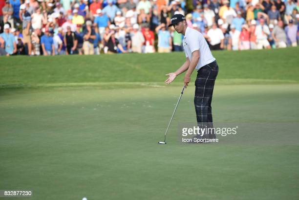 Chris Stroud gestures his discontent after the putt did not break on the 18th hole during the final round of the PGA Championship on August 13 2017...