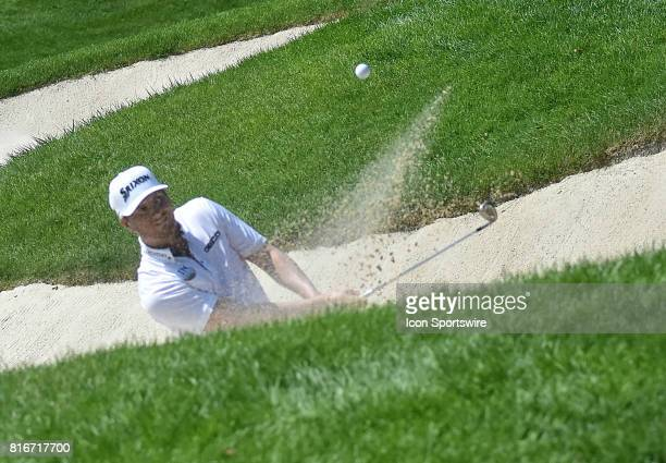 Chris Stroud hits out of a sand trap on the No 6 hole during the final round of the John Deere Classic July 16 at TPC Deere Run Silvis IL
