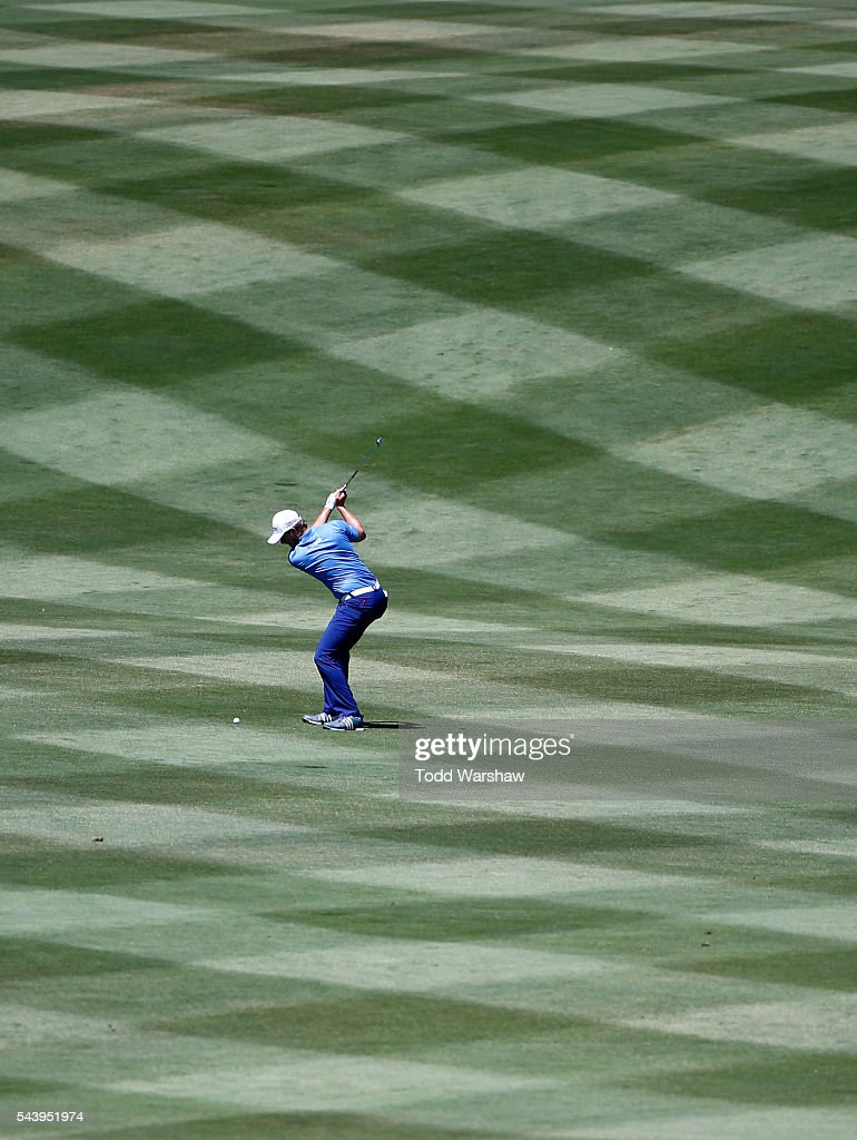 Chris Stroud plays his shot on the first fairway during the first round of the Barracuda Championship at the Montreux Golf and Country Club on June 30, 2016 in Reno, Nevada.