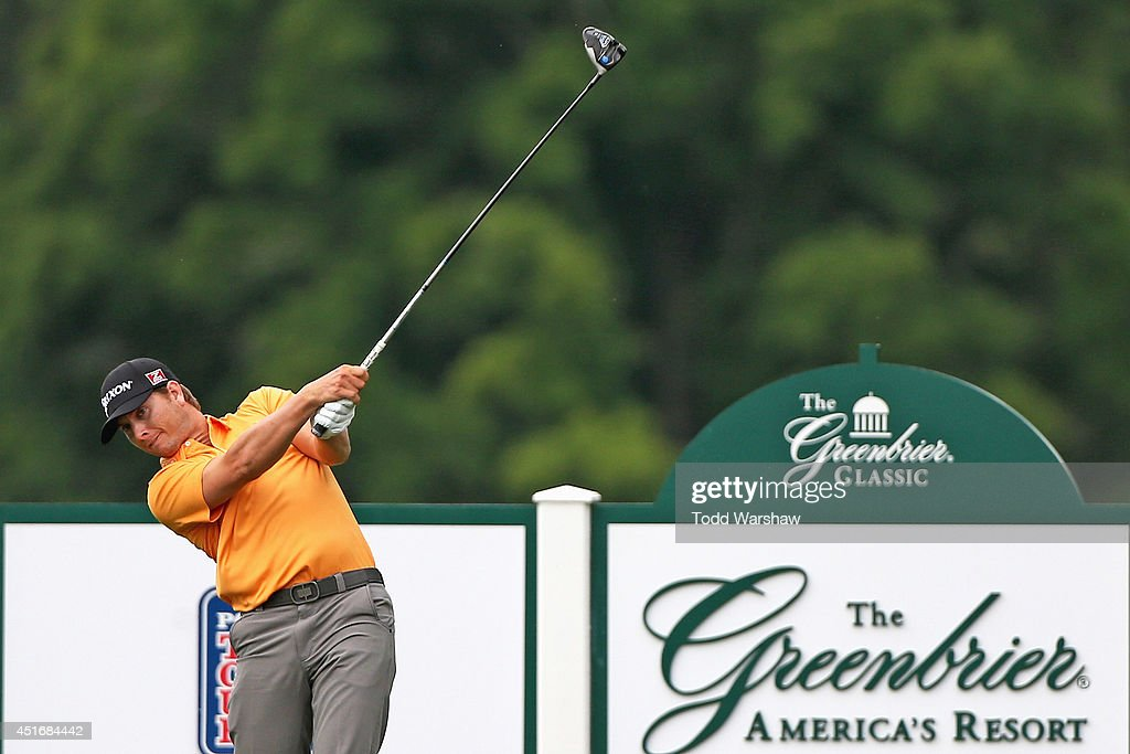 Chris Stroud tees off on the 17th hole during the second round of the Greenbrier Classic at the Old White TPC on July 4, 2014 in White Sulphur Springs, West Virginia.