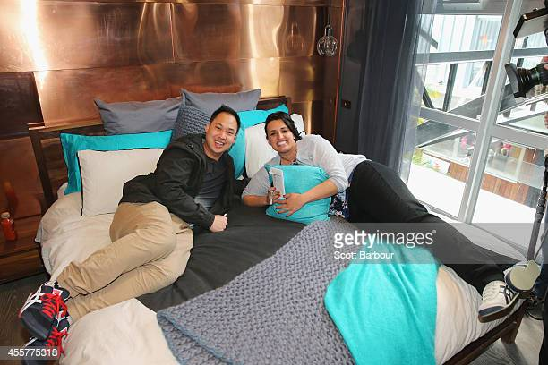 Chris Susetio and Jenna Susetio lie on the bed in their bedroom as 'The Block' contestants offer the public a sneak peak of 'The Block' Glasshouse...