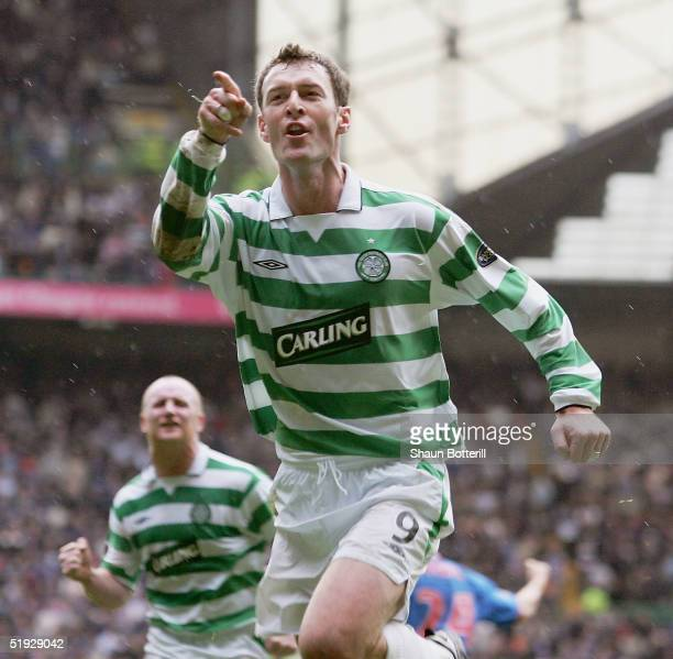 Chris Sutton of Celtic celebrates after scoring during the Tennants Scottish Cup third round match between Celtic and Rangers at Celtic Park on...