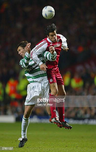 Chris Sutton of Celtic clashes with Michael Ballack of Bayern during the UEFA Champions League Group stage match between Glasgow Celtic and Bayern...