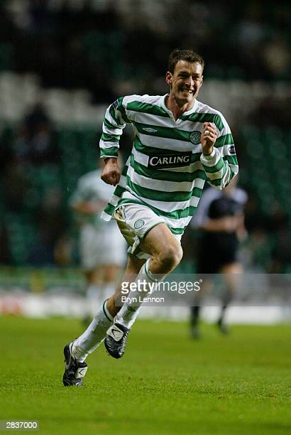 Chris Sutton of Celtic makes a break forward during the Scottish Premier League match between Glasgow Celtic and Dundee held on December 13 2003 at...