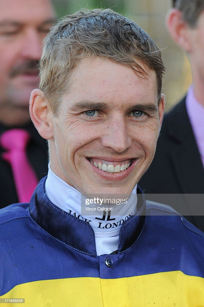 Chris Symons after winning aboard Blackie in the Alternate Railway Handicap during Melbourne Racing at Moonee Valley Racecourse on June 29, 2013 in Melbourne, Australia.