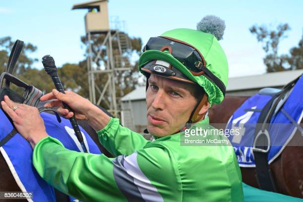 Chris Symons after winning the Border Inn Murray Mallee Winter Sprint Final at Echuca Racecourse on August 21 2017 in Echuca Australia