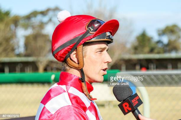 Chris Symons after winning the Coopers Hire Drive FM Maiden Plate at Bairnsdale Racecourse on July 25 2017 in Bairnsdale Australia