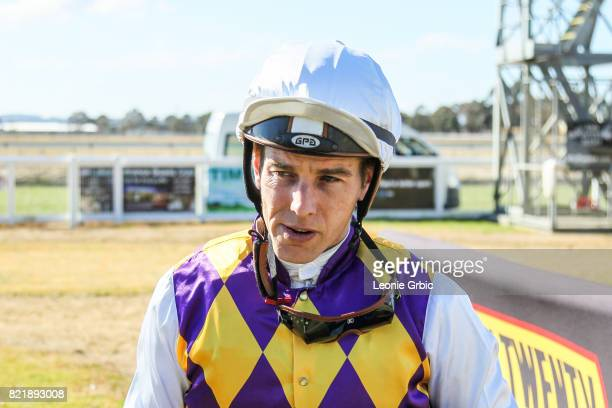 Chris Symons after winning the Tambo Waste 3YO Maiden Plate at Bairnsdale Racecourse on July 25 2017 in Bairnsdale Australia