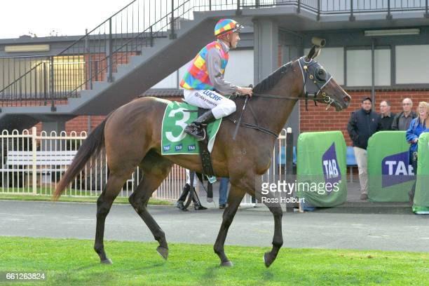 Chris Symons returns to the mounting yard on Ashleigh Rae after winning Victorian Statewide Conveyancing Maiden Plate at Cranbourne Racecourse on...