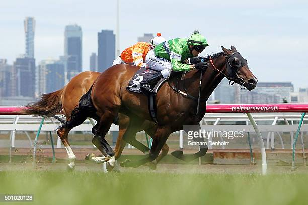 Chris Symons rides Precious Gem to win race four the Building Engineering Trophy as part of Western Health Community Raceday during Melbourne Racing...