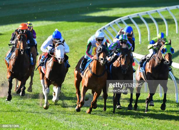 Chris Symons riding Essence of Terror winning Race 3 during Melbourne Racing at Moonee Valley Racecourse on June 17 2017 in Melbourne Australia