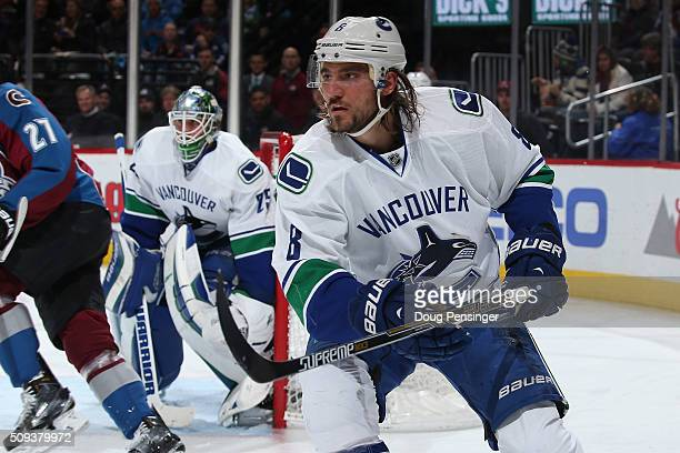 Chris Tanev of the Vancouver Canucks skates against the Colorado Avalanche at Pepsi Center on February 9 2016 in Denver Colorado The Canucks defeated...
