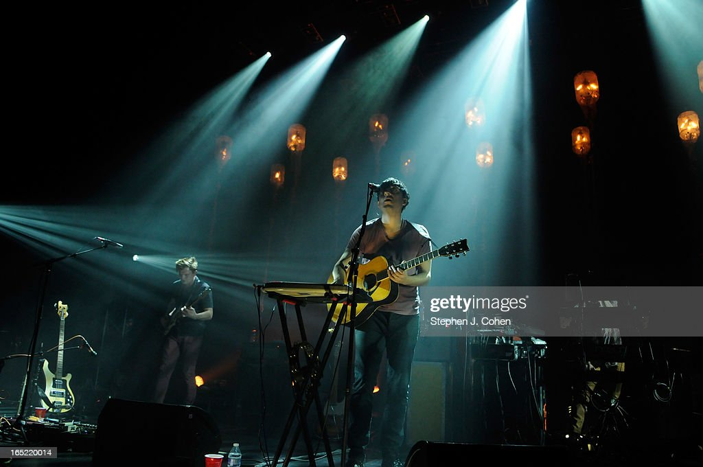 Chris Taylor and <a gi-track='captionPersonalityLinkClicked' href=/galleries/search?phrase=Ed+Droste&family=editorial&specificpeople=4409680 ng-click='$event.stopPropagation()'>Ed Droste</a> of Grizzly Bear performs in concert at The Brown Theatre on April 1, 2013 in Louisville, Kentucky.