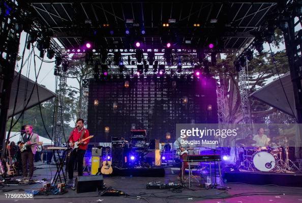 Chris Taylor Daniel Rosen Ed Droste and Christopher Bear of Grizzly Bear perform during the Outside Lands Music Festival 2013 at Golden Gate Park on...