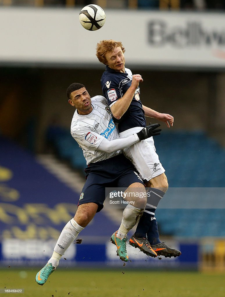 Chris Taylor of Millwall (R) in action with <a gi-track='captionPersonalityLinkClicked' href=/galleries/search?phrase=Leon+Best&family=editorial&specificpeople=684105 ng-click='$event.stopPropagation()'>Leon Best</a> of Blackburn during the FA Cup Sixth round match between Millwall and Blackburn Rovers at The Den on March 10, 2013 in London, England.