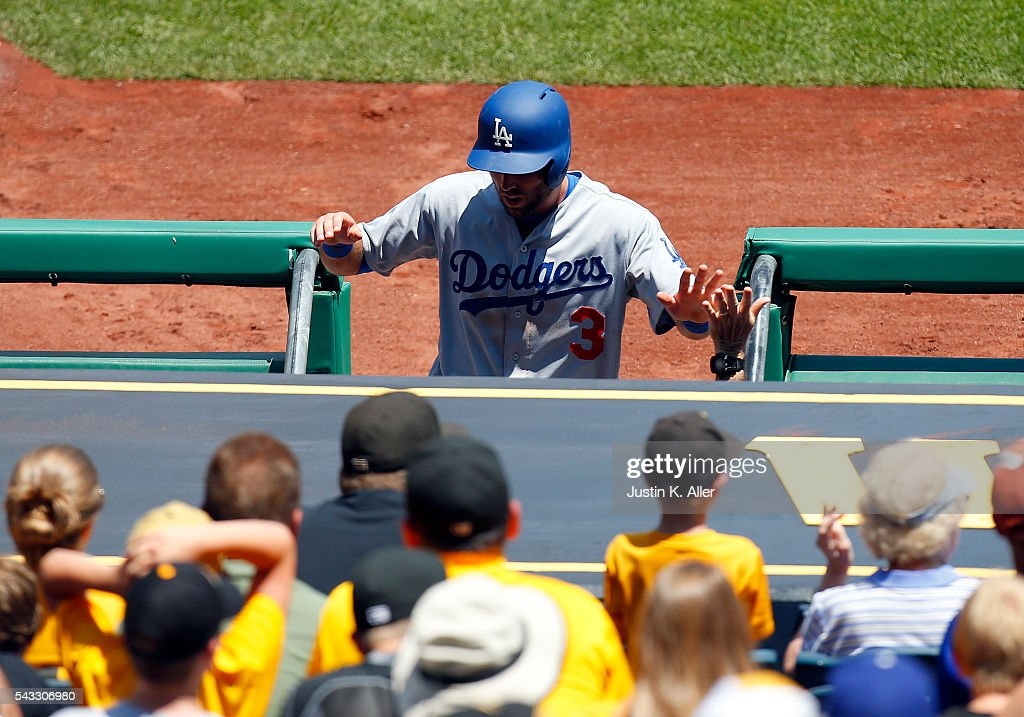 <a gi-track='captionPersonalityLinkClicked' href=/galleries/search?phrase=Chris+Taylor+-+Baseball+Player&family=editorial&specificpeople=13511734 ng-click='$event.stopPropagation()'>Chris Taylor</a> #3 of the Los Angeles Dodgers celebrates after scoring on a sacrifice fly during the game against the Pittsburgh Pirates at PNC Park on June 27, 2016 in Pittsburgh, Pennsylvania.