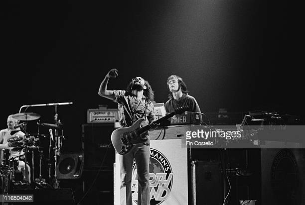 Chris Thompson British rock guitarist and South African keyboard player Manfred Mann on stage during a live concert performance by Mann's band...