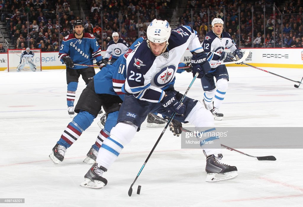 <a gi-track='captionPersonalityLinkClicked' href=/galleries/search?phrase=Chris+Thorburn&family=editorial&specificpeople=2222066 ng-click='$event.stopPropagation()'>Chris Thorburn</a> #22 of the Winnipeg Jets skates with the puck against the Colorado Avalanche at the Pepsi Center on December 29, 2013 in Denver, Colorado.Ê
