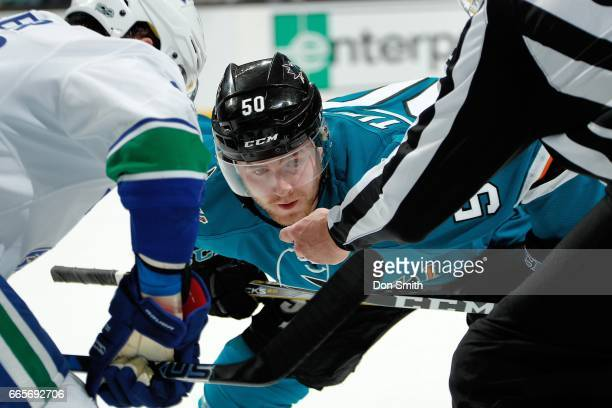 Chris Tierney of the San Jose Sharks looks during a NHL game against the Vancouver Canucks at SAP Center at San Jose on April 4 2017 in San Jose...