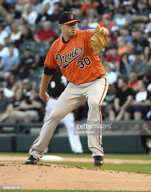 Chris Tillman of the Baltimore Orioles pitches against the Chicago White Sox during the first inning on July 6 2016 at U S Cellular Field in Chicago...