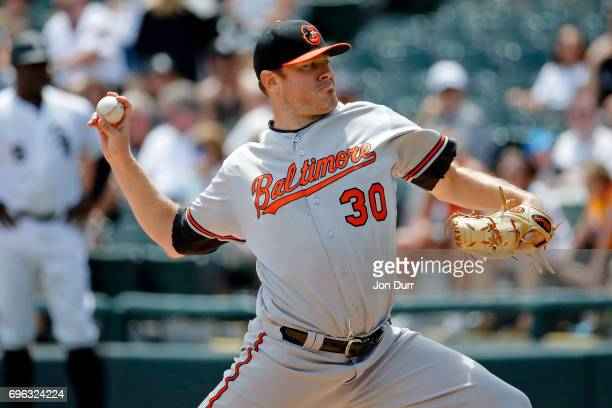 Chris Tillman of the Baltimore Orioles pitches against the Chicago White Sox during the first inning at Guaranteed Rate Field on June 15 2017 in...