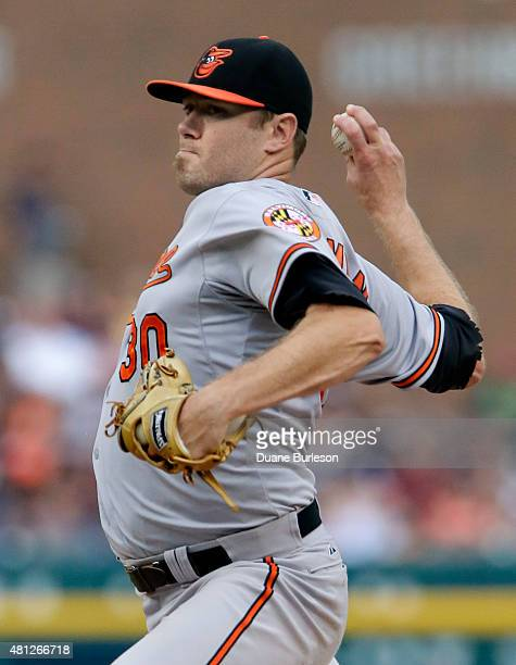 Chris Tillman of the Baltimore Orioles pitches against the Detroit Tigers during the first inning at Comerica Park on July 18 2015 in Detroit Michigan