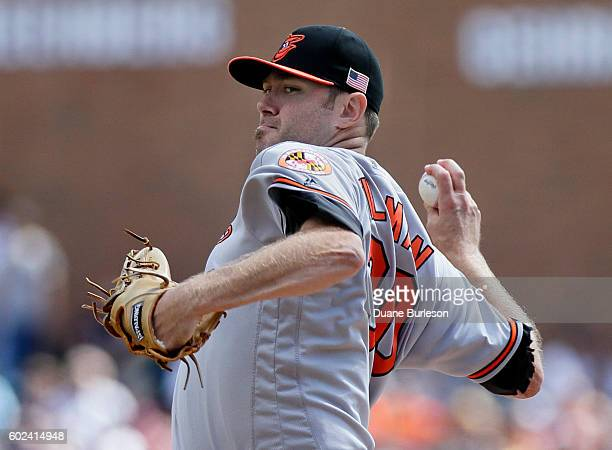 Chris Tillman of the Baltimore Orioles pitches against the Detroit Tigers during the second inning at Comerica Park on September 11 2016 in Detroit...