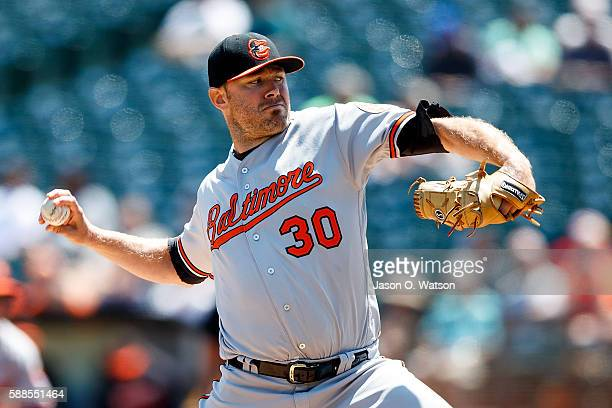 Chris Tillman of the Baltimore Orioles pitches against the Oakland Athletics during the first inning at the Oakland Coliseum on August 11 2016 in...