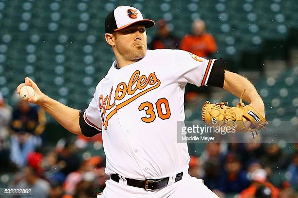 Chris Tillman of the Baltimore Orioles pitches against the Seattle Mariners during the first inning on May 19 2016 in Baltimore Maryland