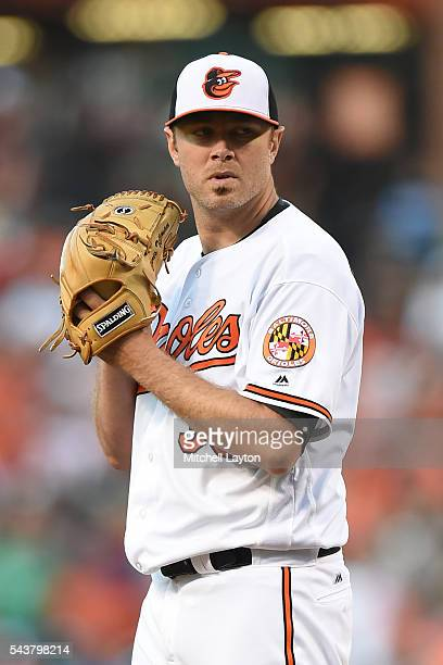 Chris Tillman of the Baltimore Orioles pitches during game two of a doubleheader baseball game against the Tampa Bay Rays at Oriole Park at Camden...