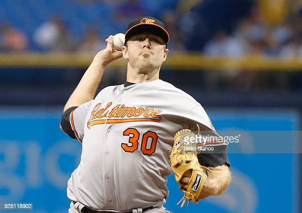 Chris Tillman of the Baltimore Orioles pitches during the first inning of a game against theTampa Bay Rays on April 27 2016 at Tropicana Field in St...