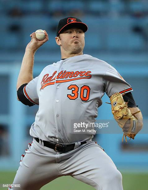Chris Tillman of the Baltimore Orioles pitches during the first inning of a baseball game against the Los Angeles Dodgers at Dodger Stadium on July 5...