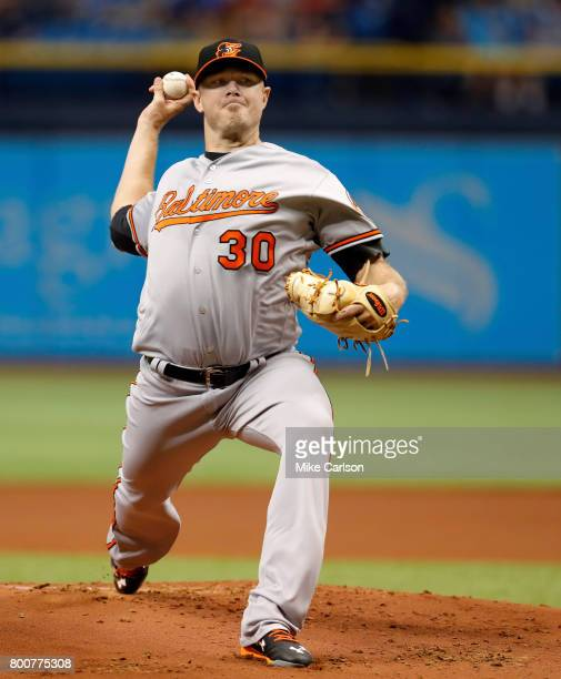 Chris Tillman of the Baltimore Orioles pitches during the first inning of a game against the Tampa Bay Rays at Tropicana Field on June 25 2017 in St...