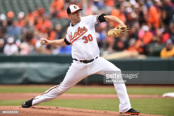 Chris Tillman of the Baltimore Orioles pitches in first inning during a baseball game against the Chicago White Sox at Oriole Park at Camden Yards on...