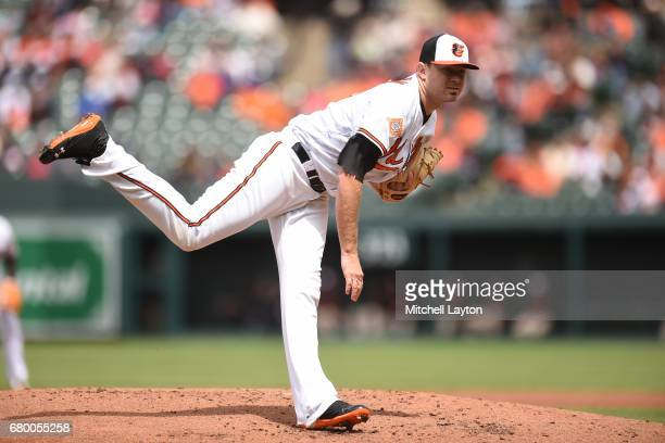 Chris Tillman of the Baltimore Orioles pitches in second inning during a baseball game against the Chicago White Sox at Oriole Park at Camden Yards...