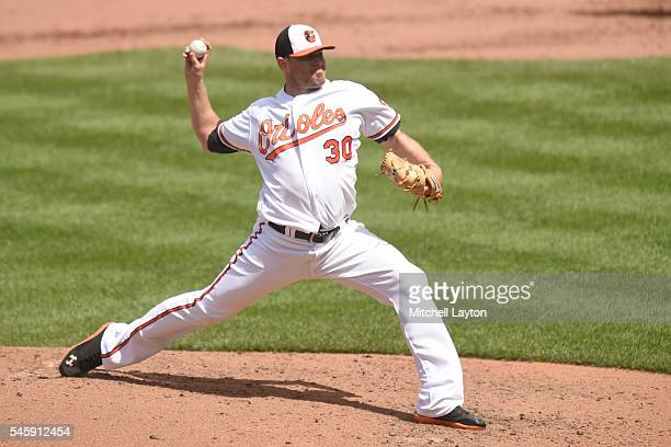 Chris Tillman of the Baltimore Orioles pitches in the fifth inning during a baseball game against the Los Angeles Angels of Anaheim at Oriole Park at...