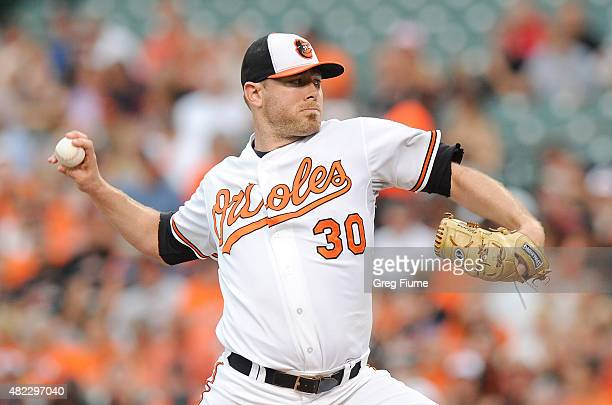 Chris Tillman of the Baltimore Orioles pitches in the first inning against the Atlanta Braves at Oriole Park at Camden Yards on July 29 2015 in...
