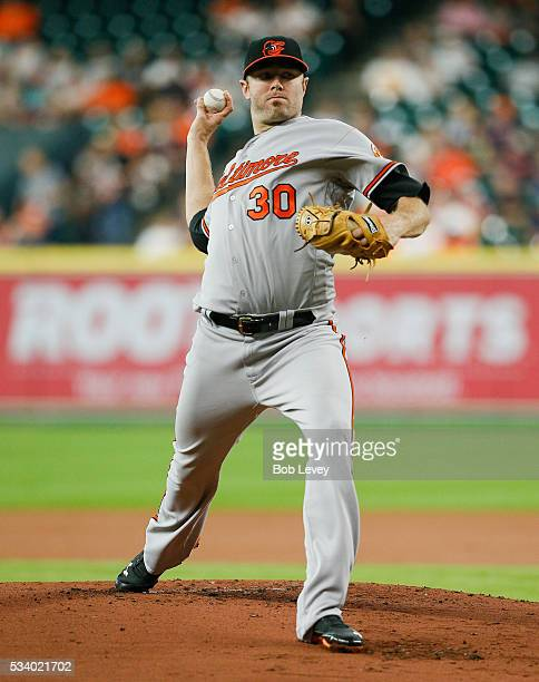 Chris Tillman of the Baltimore Orioles pitches in the first inning against the Houston Astros at Minute Maid Park on May 24 2016 in Houston Texas