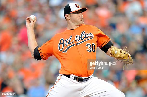 Chris Tillman of the Baltimore Orioles pitches in the first inning against the Houston Astros at Oriole Park at Camden Yards on August 20 2016 in...
