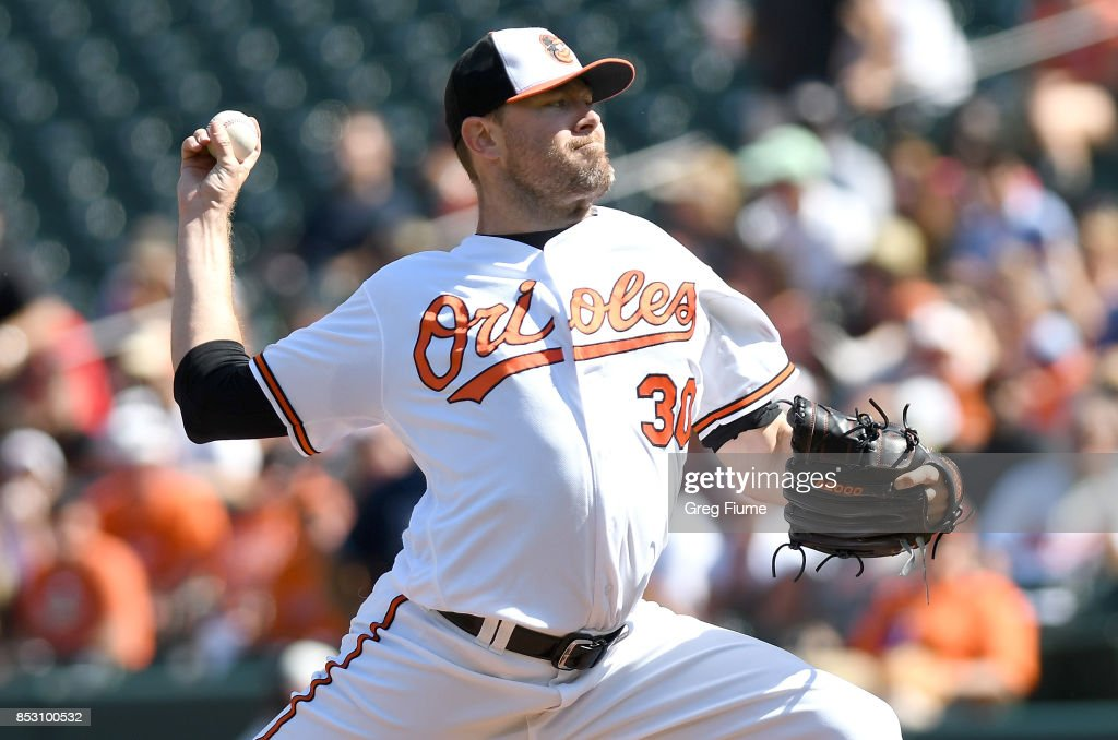Chris Tillman #30 of the Baltimore Orioles pitches in the first inning against the Tampa Bay Rays at Oriole Park at Camden Yards on September 24, 2017 in Baltimore, Maryland.