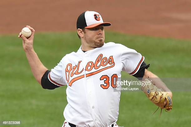 Chris Tillman of the Baltimore Orioles pitches in the forth inning during a baseball game against the New York Yankees at Oriole Park at Camden Yards...