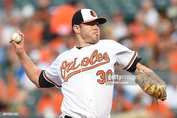 Chris Tillman of the Baltimore Orioles pitches in the second inning during a baseball game against the Oakland Athletics at Oriole Park at Camden...